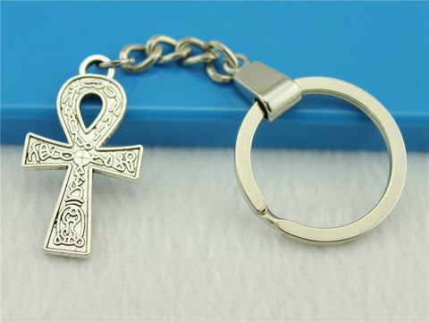 Free Jewelry Key Chain, New Fashion Metal Key Chains Accessory, Vintage double sided Ankh