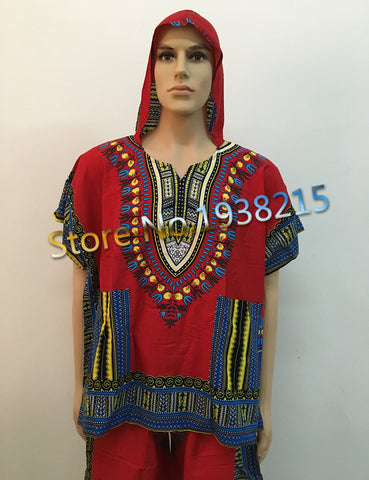 Wholesale 2016 New Fashion Design Traditional African Clothing Print 100% Cotton Dashiki T-shirt For Men Cap