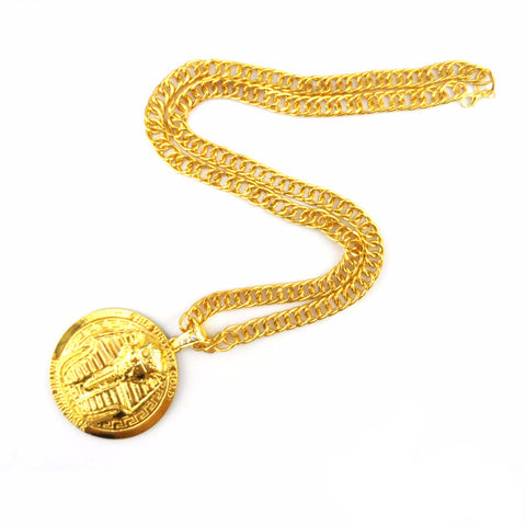 High Quality 24k Gold Plated Egyptian Pharaoh Pendant Necklace
