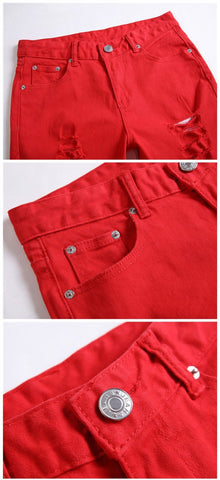 Men'scasual pants Straight luxury trousers cotton red zipper pattern pants for men