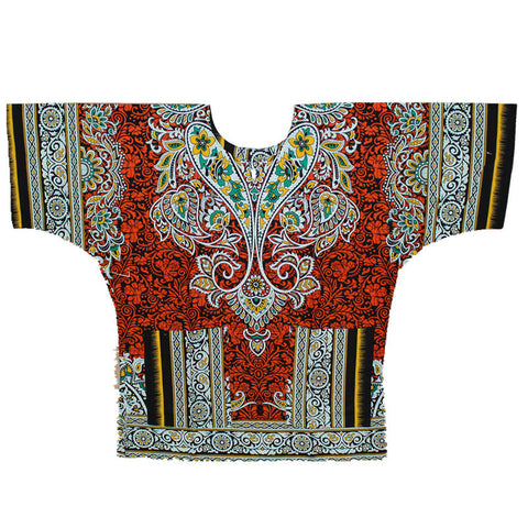 New fashion design african traditional red print 100% cotton Dashiki T-shirt for unisex