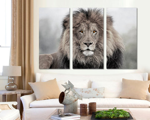 3 Panel Canvas Split African lion