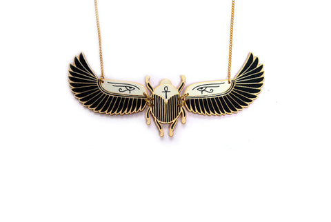 Winged Scarab Beetle Necklace. Large Statement Necklace. Laser Cut Jewellery. Gold and Black. Ancient Egypt. Egyptian Jewellery.
