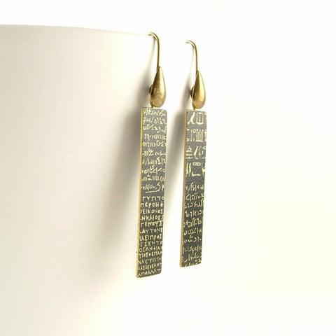 Rosetta Stone Earrings Hieroglyphs Script - Ancient Languages Jewelry