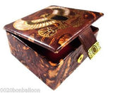 "Egyptian 3"" HANDMADE FALCON HORUS Genuine Leather Jewelry Box Pharaoh"