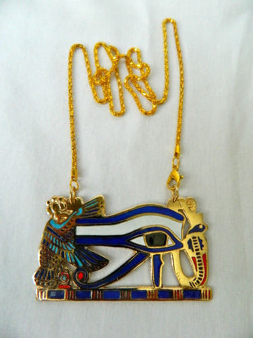 Large Egyptian Metal Gold Plated Blue White Eye Of Horus Isis Necklace