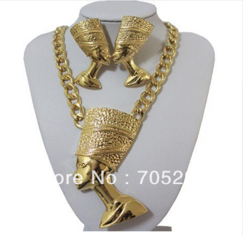 Double Chain Egyptian Queen Nefertiti Pendants with Chunky Chain Necklace & Earring Sets-Gold & Black