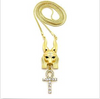 "Image of Egyptian Ankh Cross, God Anubis Pendant 24"",30"" Various Chain 2 Necklace Set Gold-Tone (3 Kinds Available)"