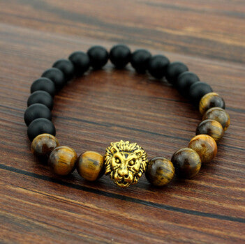 FREE Tiger Eye Brand Lion Head Bracelets Bangles Elastic Rope Chain & Link Natural Stone