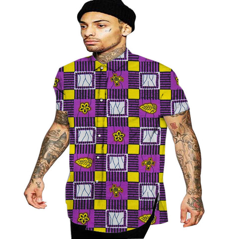 Turn-down collar men dashiki shirts male traditional african cloth short sleeve professional