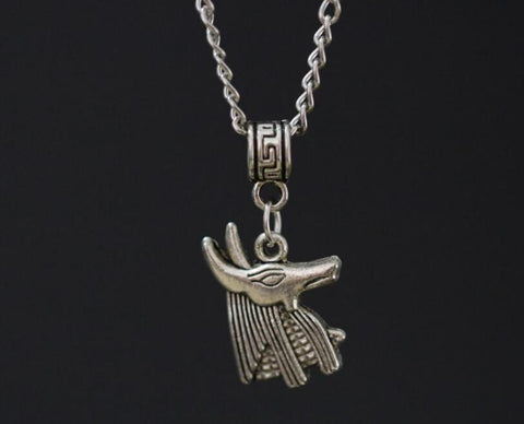 Anubis God Amulets Necklace Ancient Silver Dog Charms Pendant