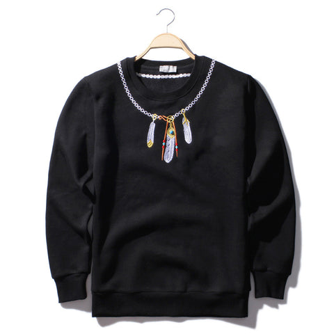 Aelfric Embroidery Feather Wings Hoodies Indian Eagle Necklace Sweater