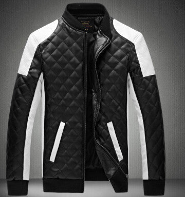 New Design Men's Jacket Winter&Autumn PU Leather Black&White