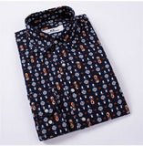 Floral Print Slim Fit Shirts Men's Long Sleeve Casual Dress Shirts