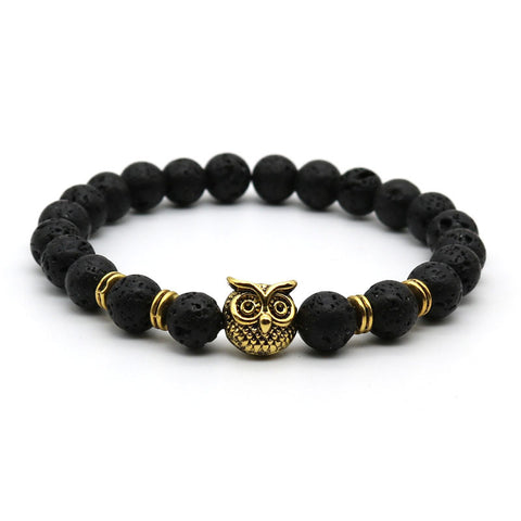 Free Antique Silver and Gold Plated Animal Owl Head Bracelet Men Beaded black Matte Stone Bracelets