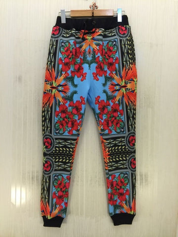 New fashion fall men's  joggers pants floral print vintage hip hop pants autumn/winter sweatpants