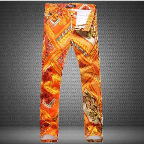 Red Print Barber Jeans Male DJ Club Pants Slim fit casual pant