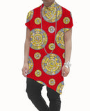 Asymmetric men dashiki shirt male fashion african printed short sleeve tops personal tailored