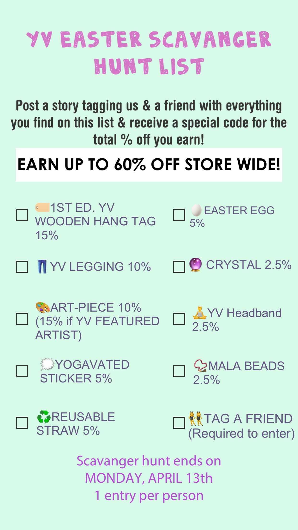 YV EASTER SCAVENGER HUNT | Earn up to 60% OFF