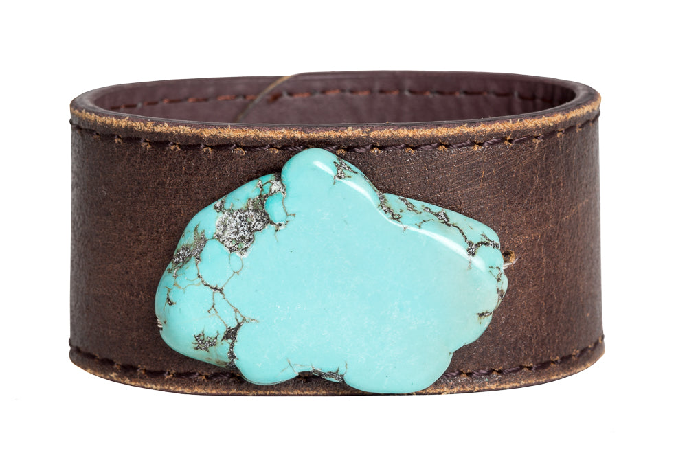 Howlite Re-purposed Leather Bracelet