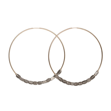 Pewter African Beaded Hoops