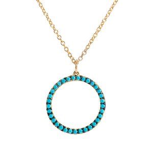 Turquoise Beaded Large Circle Necklace