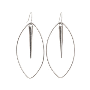 Sterling Silver Spike Oval Earrings