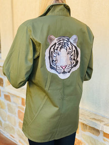 White Tiger Patch Military Jacket