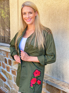 Hummingbird Patch Military Jacket