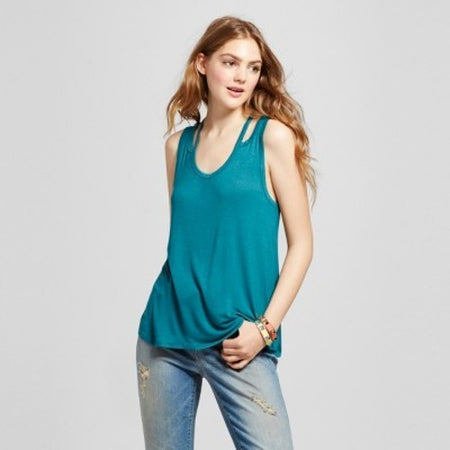 Women's Knot Front Tank, Sea Echo Teal, Small (4/6) - U.S. Retail Products