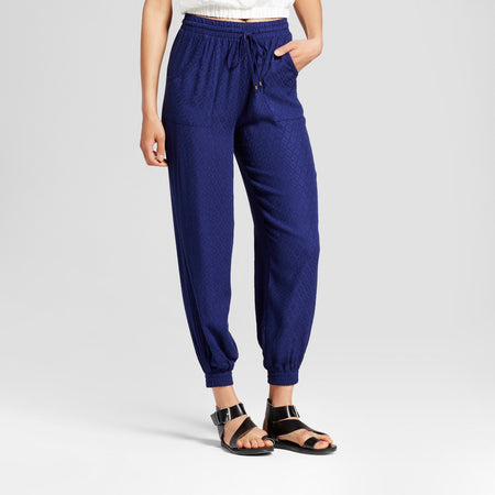 Women's Junior's Printed Jogger, Navy, X-Small (0/1) - U.S. Retail Products