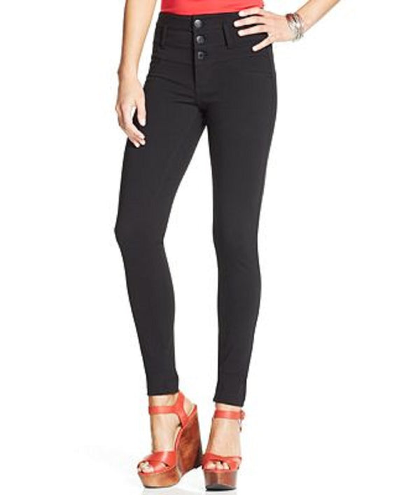 Celebrity Pink Juniors Triple Button High Rise Skinny Jeans, Dark Blue, 3