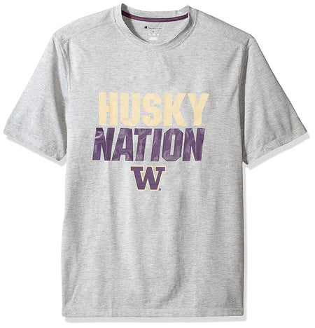 NCAA Washington Huskies Men's Poly+ T-Shirt, Gray Heather, X-Large