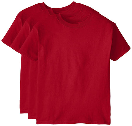 Hanes Big Boy's Short Sleeve BEEFY Tee Pack Of 3, Deep Red, Large - U.S. Retail Products