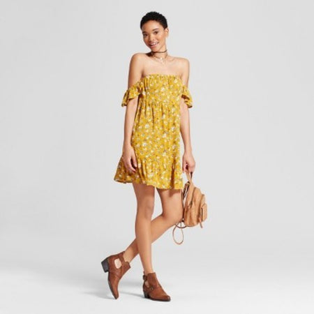 Women's Off the Shoulder Tiered Ruffle Dress, Yellow, X-Small (0/2) - U.S. Retail Products