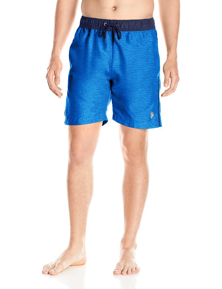 U.S. Polo Assn. Mens Peached Microfiber Swim Short, Cobalt Heather, Large