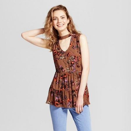 Women's Woven Tiered Choker Tank Top, Brown, XS (0/2) - U.S. Retail Products