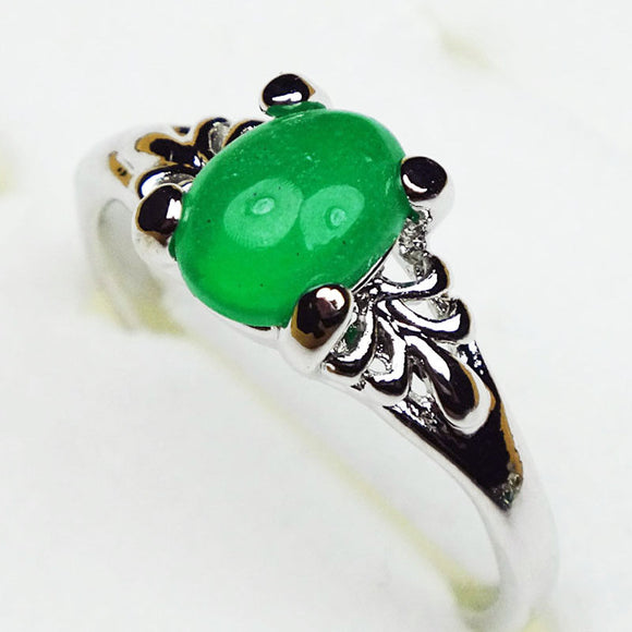 Silver Plated Malaysian Jade Ring