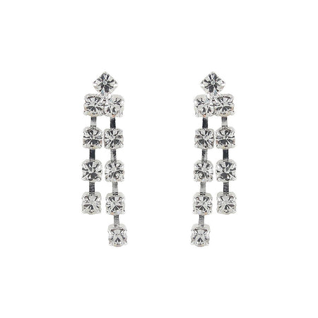Silver Tone Round Crystal Double Drop Earrings - U.S. Retail Products
