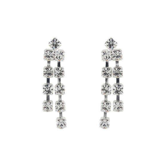 Silver Tone Round Crystal Double Drop Earrings