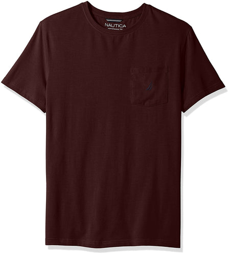 Nautica Men's Short Sleeve Slim Fit Crew Neck T-Shirt, Royal Burgundy, Medium
