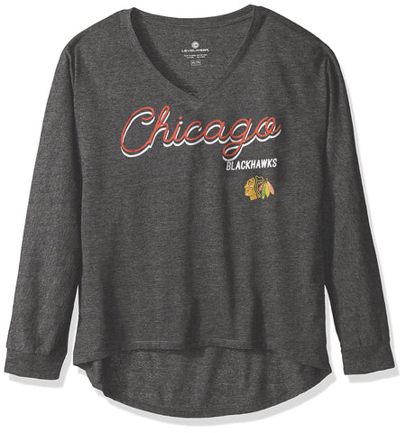 NHL Chicago Blackhawks Women's Caroline Matinee Tee, Charcoal, Large - U.S. Retail Products