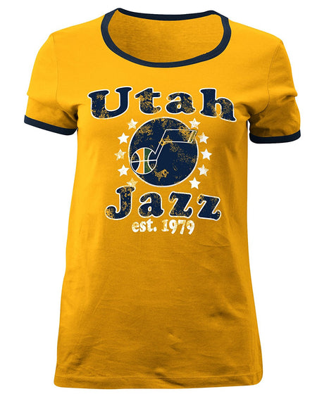 5th & Ocean Utah Jazz Ladies Baby Jersey Short sleeve Ringer Tee, Gold, Small - U.S. Retail Products