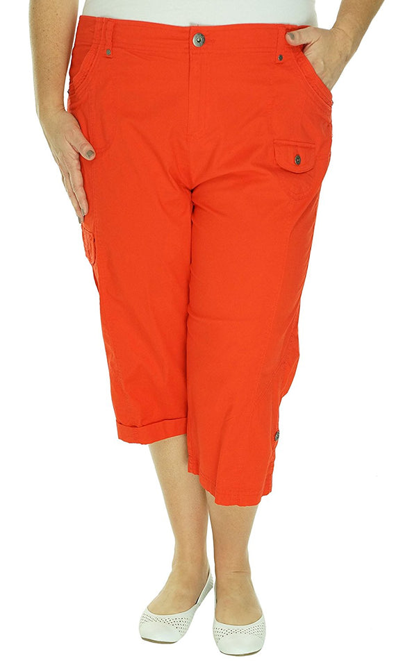 Style & Co. Plus Size Cuffed Cargo Capri Pants, Poppy Petal, 16W