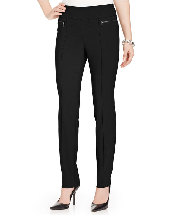 Style & Co. Petite Pants, Slim-Fit Exposed-Zipper Trousers, Deep Black, 12P