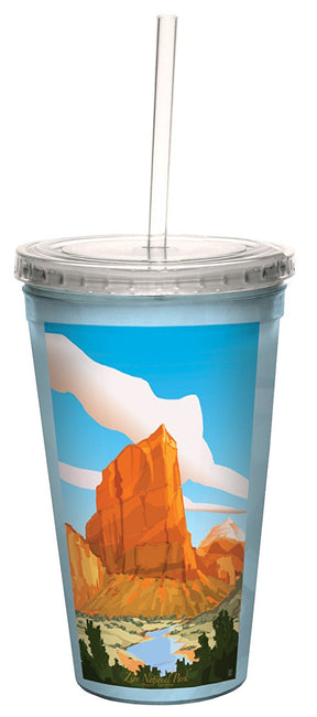 Scenic Zion National Park Traveler Double-Walled Cool Cup with Straw, 16-Ounce - U.S. Retail Products