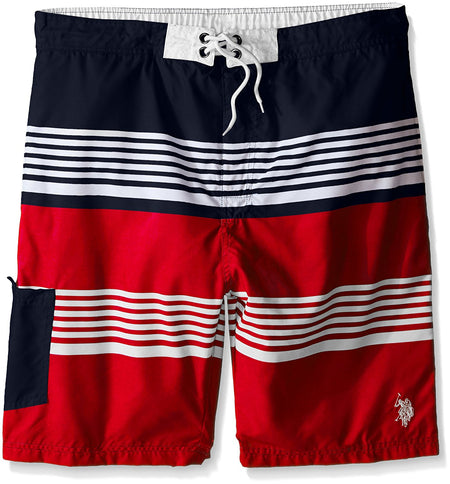 "U.S. Polo Assn. Mens 9"" Board Short, Engine Red, 3X"