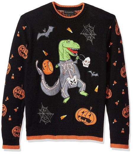 Blizzard Bay Men's Halloween Trex Crew Neck, Black Combo, Large