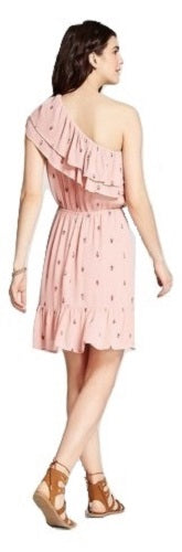 Women's One Shoulder Ruffle Dress, Blush, Small (4/6) - U.S. Retail Products