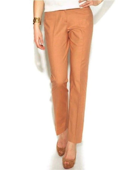 Ellen Tracy Slim-leg Cotton-blend Ankle Pants, Cashew, Size 10